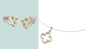 Boccia bicolor titanium oorbellen 05016-02 en hanger 07016-01