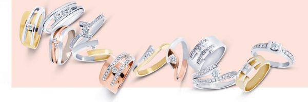 Overicht van gouden R&C ringen uit de Legacy collectie